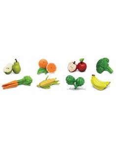 8 figurines fruits et légumes
