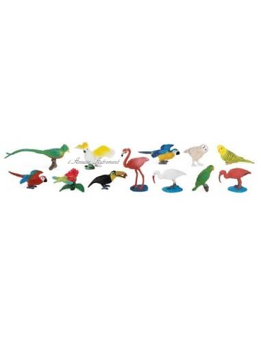 12 figurines oiseaux exotiques
