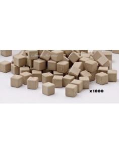 1000 cubes unités en bois naturel