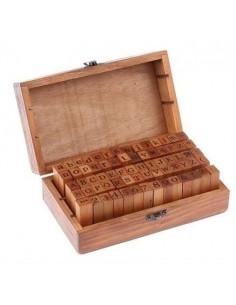 Tampons coffret écriture en bois 70 pcs