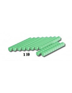 10 barres de dizaines vertes en bois