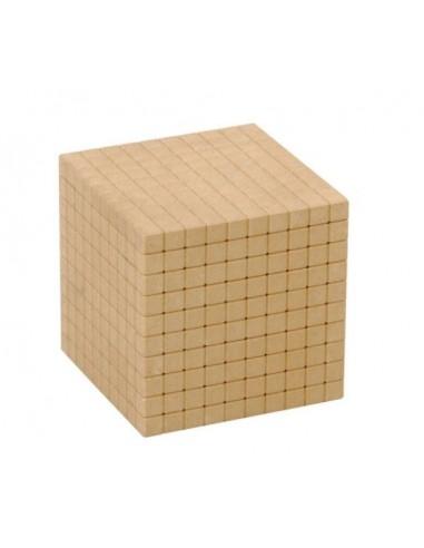 Cube de 1000 - base 10 en bois naturel