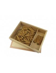 Boite chaine de 100 et 1000 perles dorées