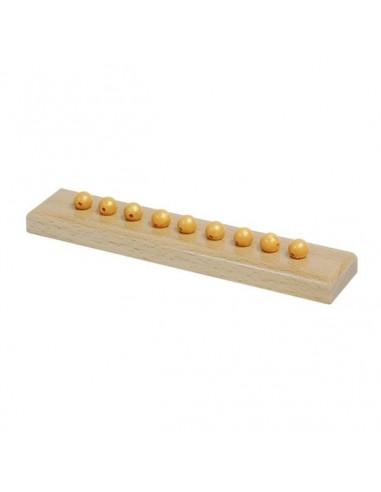9 perles dorées avec support