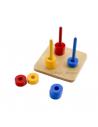 Disques de 3 couleurs différentes (bleues, rouges, jaunes) à encastrer sur tiges verticales de mêmes couleurs