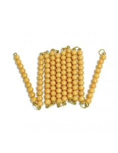 Chaine de 100 perles dorées