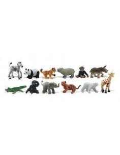12 figurines Bébés Animaux Sauvages