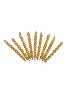 9 barres 10 perles dorées