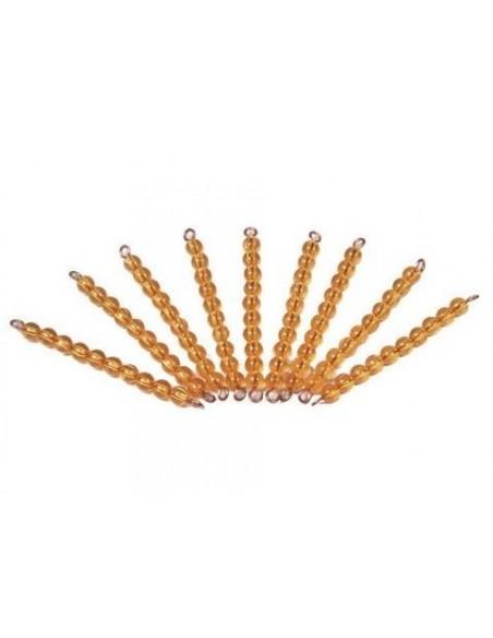 9 barres 10 perles dorées (orange)