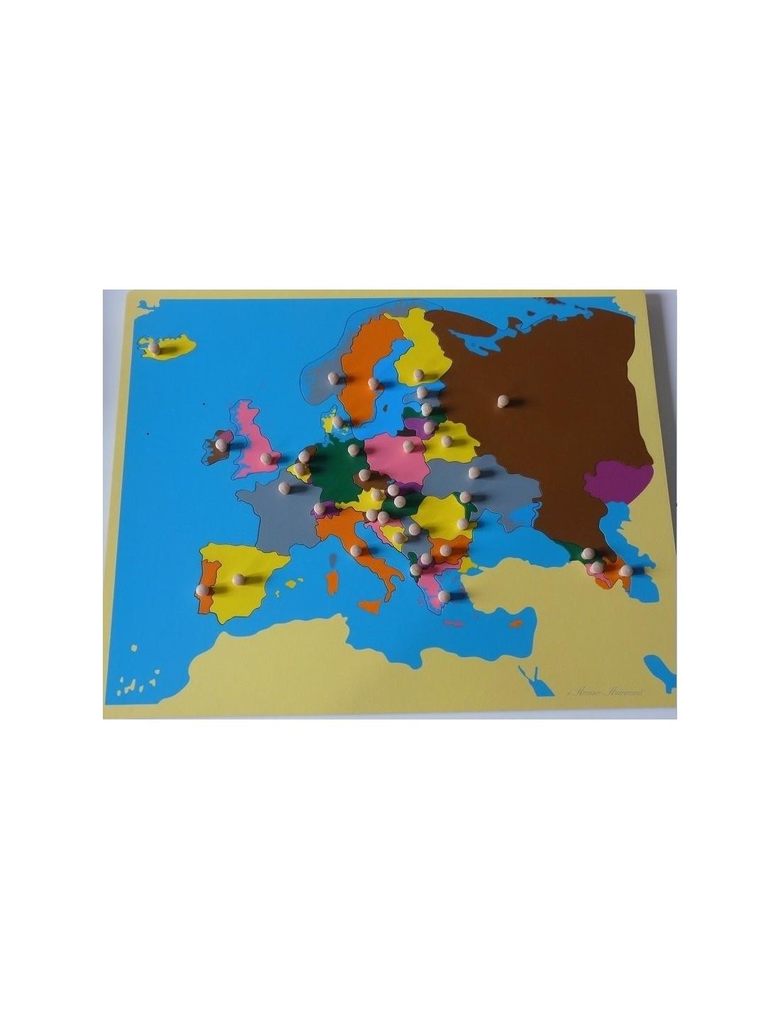 Carte puzzle de l'Europe petit modèle   Montessori s'Amuser Autrement