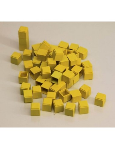 100 cubes unités jaunes en Re-plastic - base 10