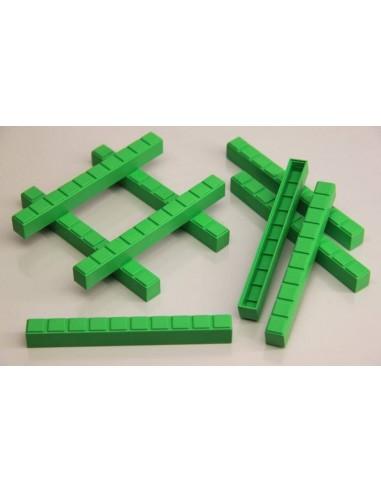 50 barres de dizaines vertes en Re-plastic