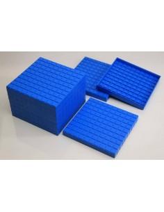 10 plaques de 100 bleues- base 10 - en Re-Plastic