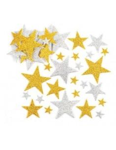 Gommettes paillettes étoiles or et argent