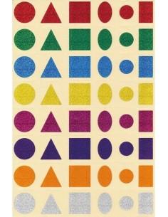 Gommettes prédecoupées 6 formes scintillantes