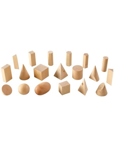 19 solides géométriques bois