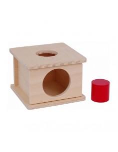 Boite en bois avec porte et grand cylindre rouge à encastrer
