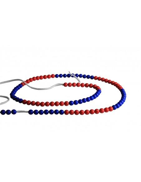 Chaine de calcul 100 par 10 rouge et bleue