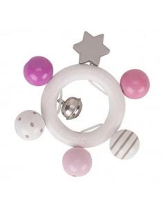 Hochet étoile rose blanc gris