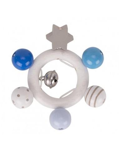 Hochet étoile bleu blanc gris