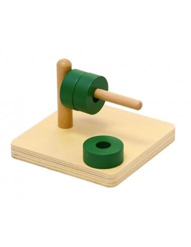 Disques verts à enfiler sur tige horizontale