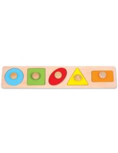 Puzzle long des 5 formes géométriques en bois