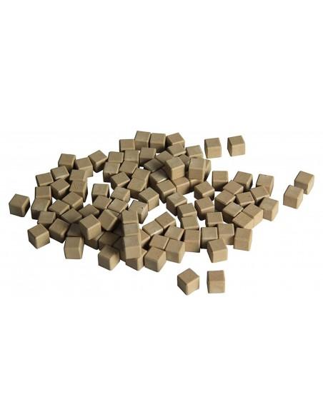 100 cubes unités en bois naturel